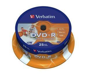 VERBATIM DVD-R(25-Pack)Spindle/Inkjet Printable/16x/4.7GB - 43538