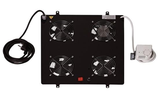 Digitus stropní ventilátor pro network rack, 4 ventilátory, černý - DN-19 FAN-4-SW