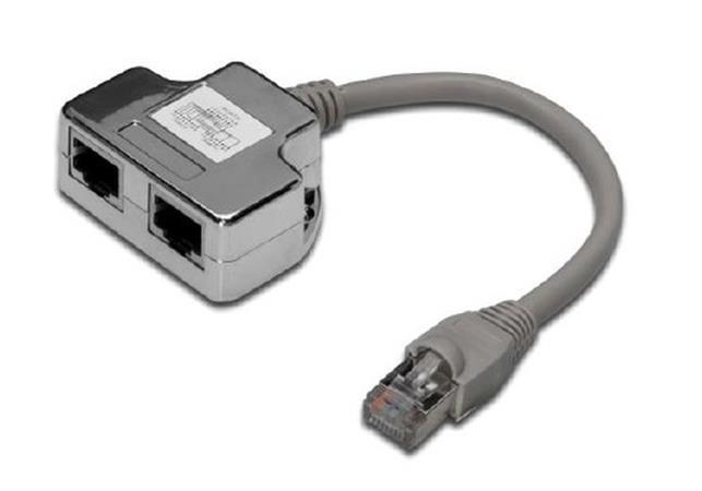 Digitus Adaptor CAT5E 1:1 RJ45 M, 2 X RJ45 F, 0,19metru - AT-AG CX2