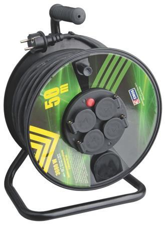 Emos prodlužovací buben - 4 zásuvky, 50m, 1.5mm, guma, IP44 - 1908245003