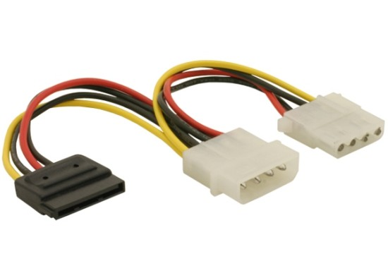 Power Adapter Molex 4-pin samec na SATA 15-pin + Molex 4 pin samice - 60103