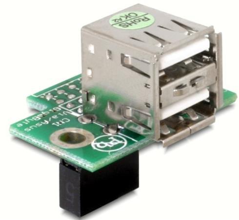 Adaptér USB ze základní desky na 2x USB A samice vodorovný - 41761