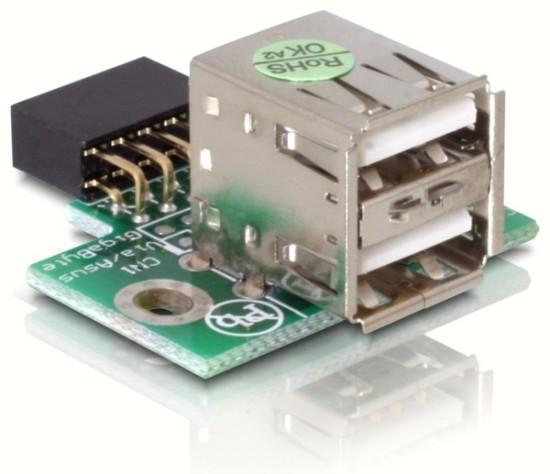 Adaptér USB ze základní desky na 2x USB A samice vertikální - 41764