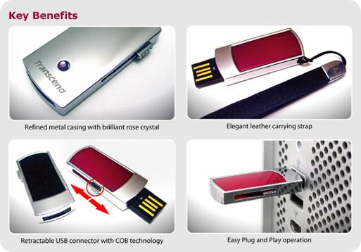 Transcend 4GB JetFlash V95D, USB 2.0 flash disk, červeno/stříbrný, kov + lak + krystal Swarowski - TS4GJFV95D