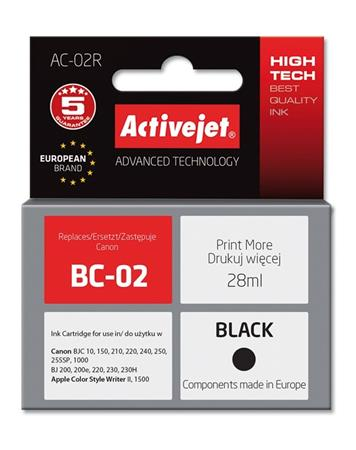 ActiveJet Ink cartridge Canon BC-02 Bk ref. - 28 ml AC-02 - EXPACJACA0020