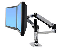 ERGOTRON LX REDESIGN DUAL ARM, POLE MOUNT, Pro 2 LCD, nebo 1LCD a NOTEBOOK, Polished Aluminum - 45-248-026