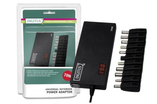 Digitus univerzální napájecí adaptér pro notebooky 70W, 11 konektorů, USB, Slim - DA-10070