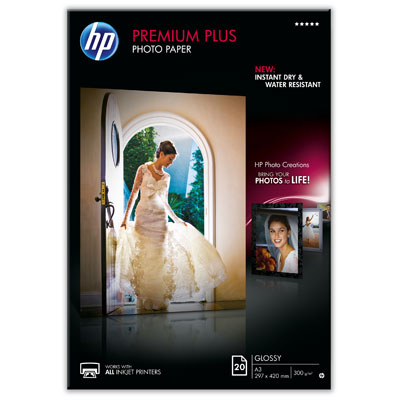 HP CR675A Premium Plus Glossy Photo Paper-20 sht/A3/297 x 420 mm, 300g/m2 - CR675A