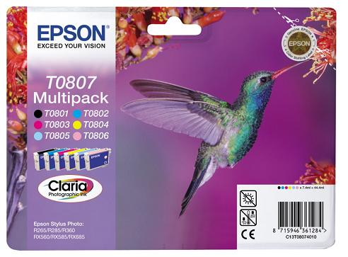 EPSON cartridge T0807 (6color) multipack (kolibřík) - C13T08074011
