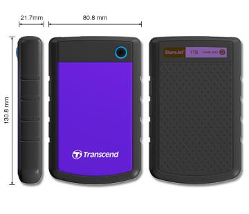 """TRANSCEND 500GB StoreJet 25H2P, USB 2.0, 2.5"""" Externí odolný hard disk, černo/fialový - TS500GSJ25H2P"""