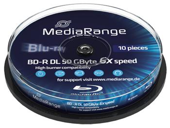 MEDIARANGE BD-R BLU-RAY 50GB 6x DoubleLayer PRINTABLE spindl 10pck/bal - MR509