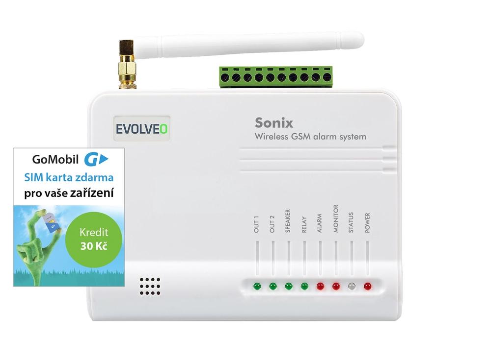 EVOLVEO Sonix - bezdrátový GSM alarm (4ks dálk. ovlád.,PIR čidlo pohybu,čidlo na dveře/okno,externí - ALM301