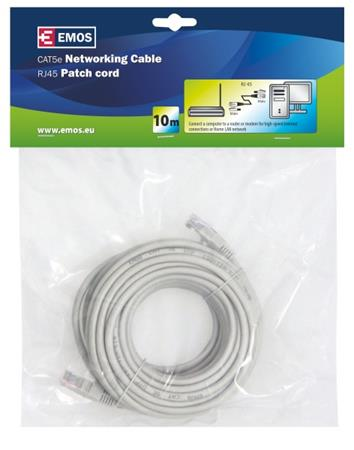 Emos Patch kabel UTP, CAT 5e, AWG26, PVC, šedý, 10m - 2309010060