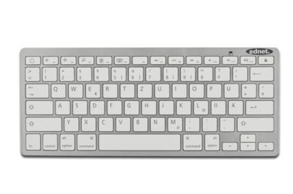 Digitus Bluetooth klávesnice pro smartphone, tablety, pc a apple zařízení (QWERTZ), Bílá - 86275