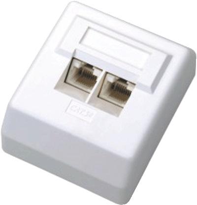 DATACOM Datová zásuvka UTP CAT5E 2xRJ45 na omítku 45st. bílá - 2000