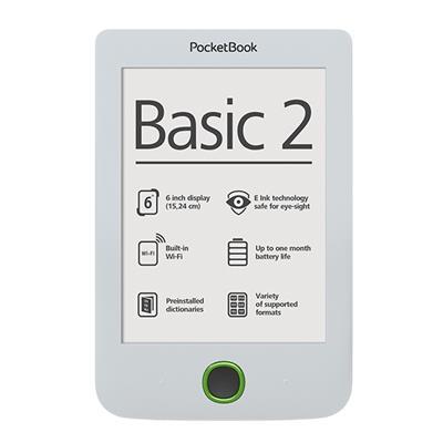 PocketBook 614 Basic2 White ebook reader, 6´´ E-ink 800x600 LCD, WLAN b/g/n, 4GB/SD+100 knih zdarma - PB614B2W