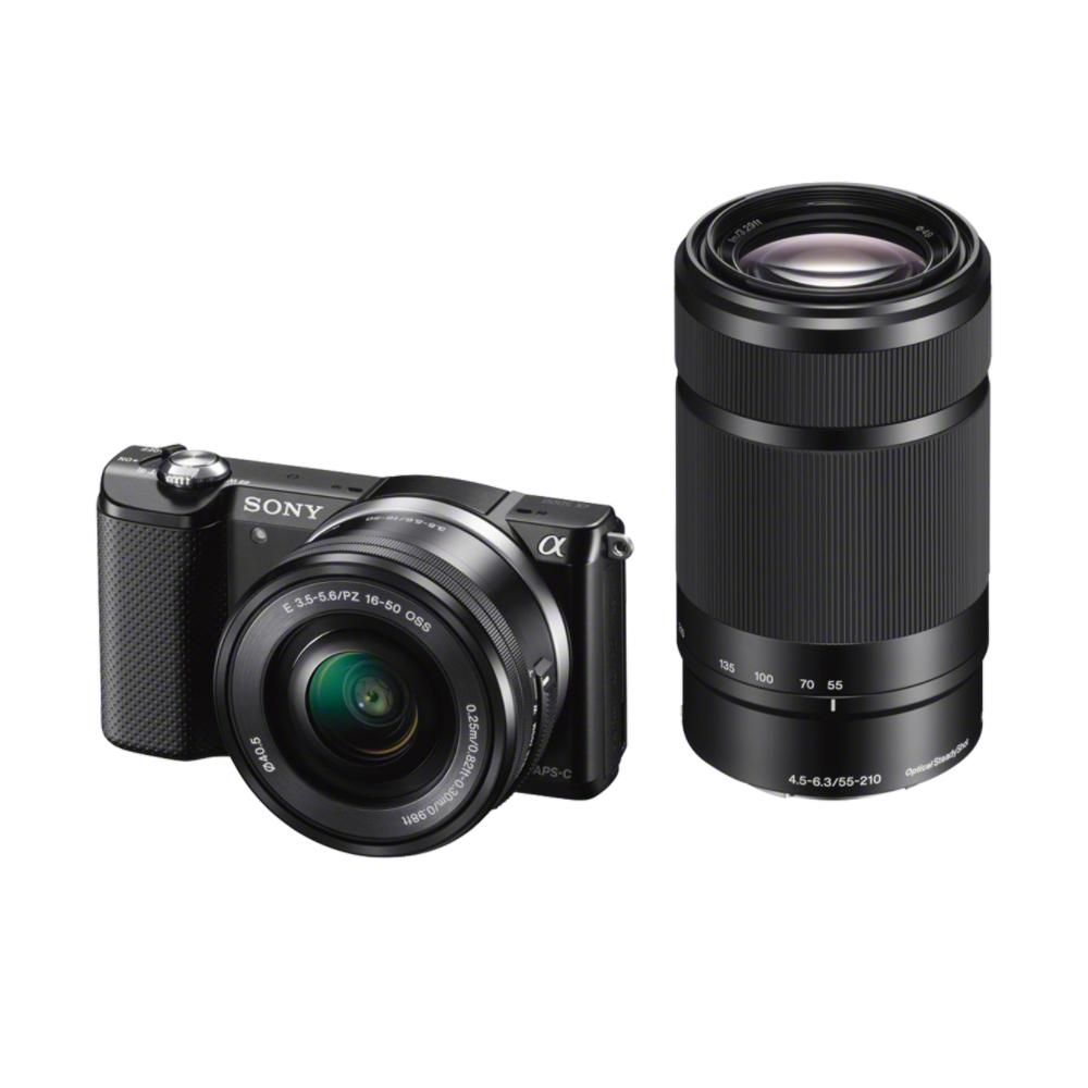 SONY ILCE-5000 Fotoaparát Alfa 5000 s bajonetem E + 16-50mm a 55-210mm objektiv - Black - ILCE5000YB.CEC