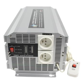 HQ INV2500/24F - Měnič napětí 24V/230V, 2500W, CZ zásuvky - HQ-INV2500/24F
