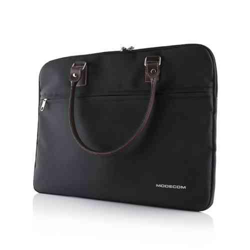 """Modecom taška Charlton na notebooky do velikosti 15,6"""" černá, hnědá rukojeť, dámská - TOR-MC-CHARLTON-BLA"""
