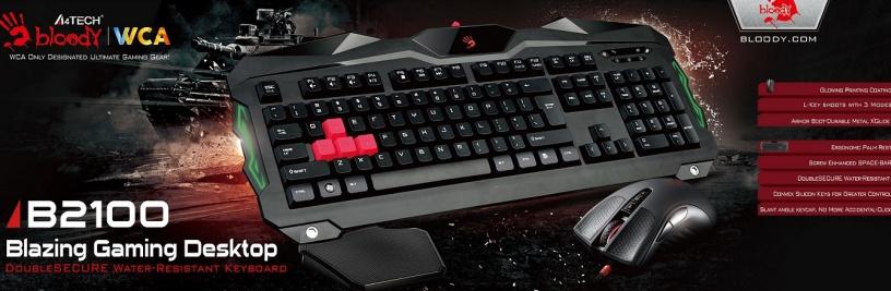 A4tech Bloody B2100 herní set klávesnice s myši, podsvícení USB - B2100