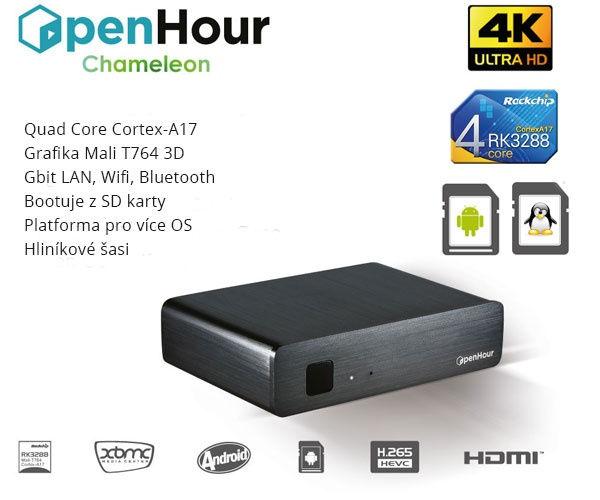 OpenHour Chameleon 4K TV Box, A4.4/Lubuntu/QC 1,8GHz/2GB/2xWLAN/GL/BT/USB/HDMI/DO - UMNP0026