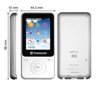 Transcend 8GB Flash MP3 přehrávač T-Sonic 710 bílý - TS8GMP710W