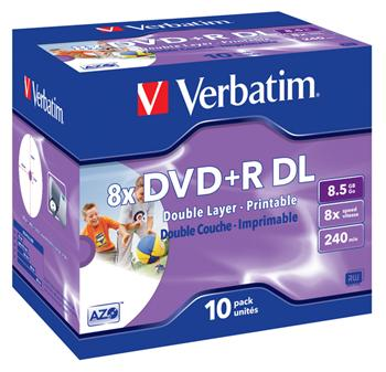VERBATIM DVD+R 8,5GB 8x PRINTABLE DoubleLayer box 10pck/BAL - 43665