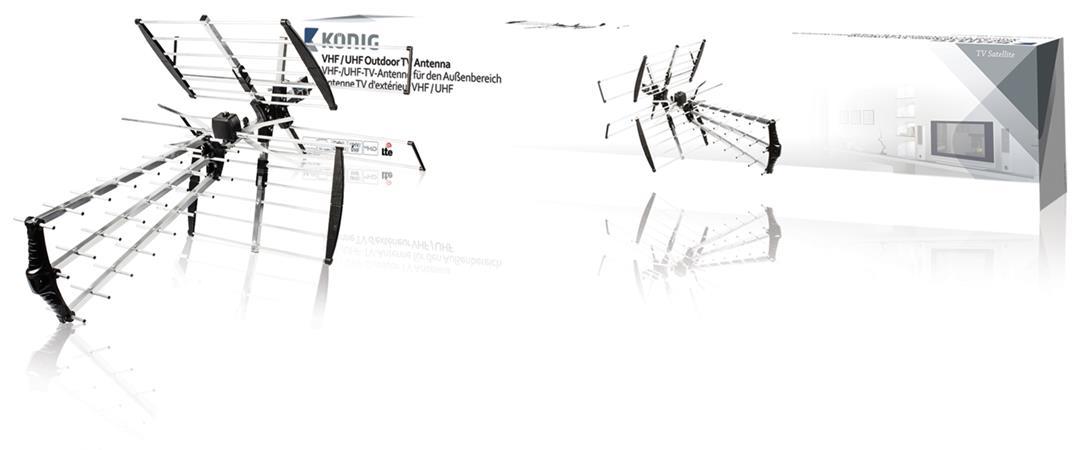 König ANT-UV11L-KN - VHF venkovní televizní anténa DVB-T, TV, VHF / UHF, FM rádio, 14 dB - ANT-UV11L-KN