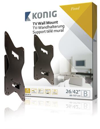 """König KNM-MF10 - Fixní nástěnný držák pro obrazovky súhlopříčkou 26-42""""/ 66-107 cm - nosnost 40 kg - KNM-MF10"""