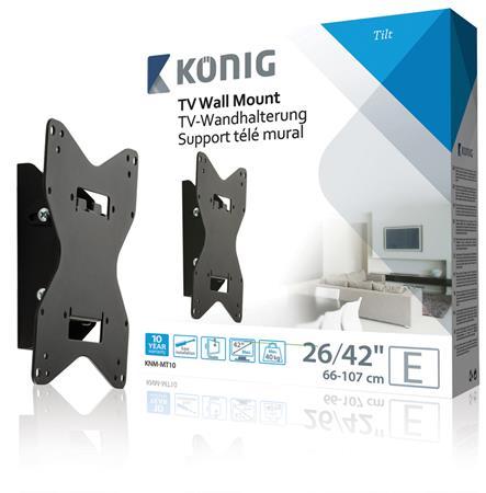 """König KNM-MT10 - Naklápěcí nástěnný držák pro obrazovky súhlopříčkou 26-42""""/ 66-107 cm - nosnost 40 - KNM-MT10"""