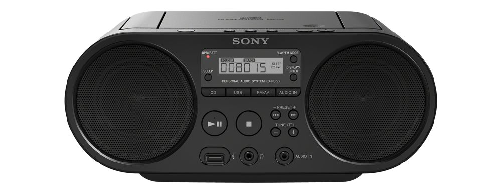 SONY ZS-PS50 Přehrávač CD Boombox + sluchátka ZX110 - Black - ZSPS50X110BPI.YS