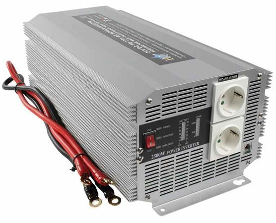 HQ INV2500/24 - Měnič napětí 24V/230V, 2500W, Schuko zásuvky - HQ-INV2500/24