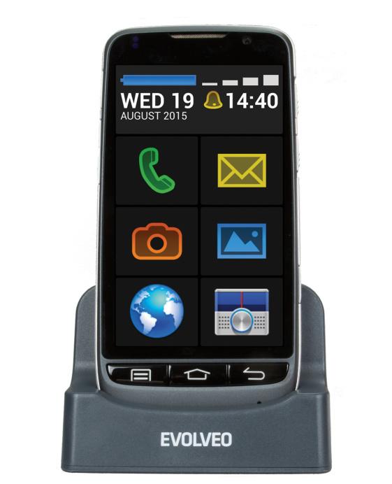 EVOLVEO EasyPhone D2, Android smartphone pro seniory se snadným ovládáním a nabíjecím stojánkem - EP-D2