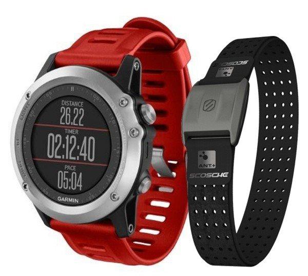 Garmin fenix3 Silver HR Optic,chytré hodinky,GPS/GLONASS, výškoměr, barometr, kompas, teploměr,BT - 010-01338-96