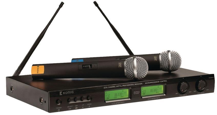 König KN-MICW621 - bezdrátový mikrofonní systém, 16 kanálů UHF, 2 mikrofony - KN-MICW621