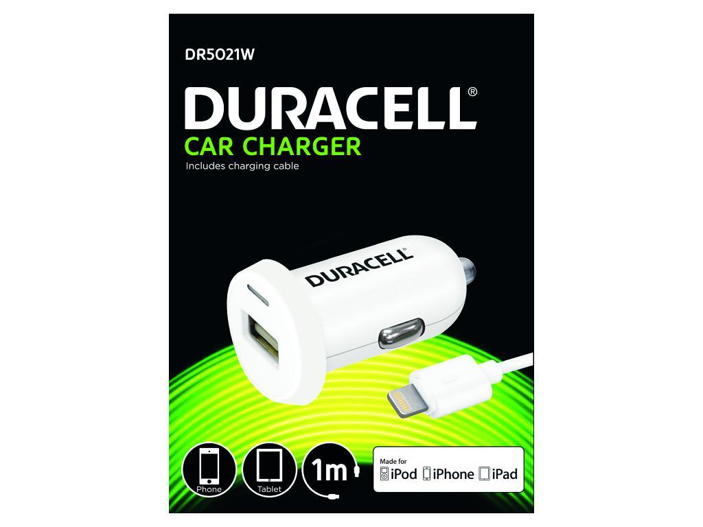 Fotografie Duracell Auto-nabíječka s 1m lightning kabelem (12/24V) bílá