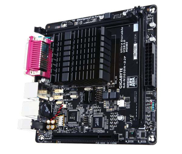GIGABYTE MB N3050N-D2P, Dual-Core Celeron® N3050 SoC (1.6 GHz), Intel N3050, 2xDDR3, VGA, mini-ITX - GA-N3050N-D2P