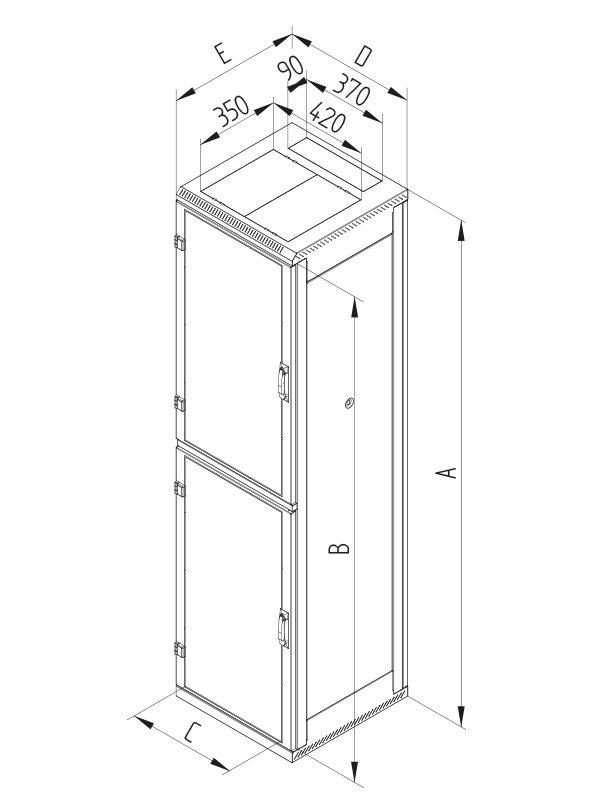 19. TRITON rozvaděč stojanový 42U/800x1000 skleněné dveře - RMA-42-A81-XAX-A12BAA