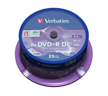 VERBATIM DVD+R 8,5 GB 8x DoubleLayer MATT SILVER spindl 25pck/BALL - 43757