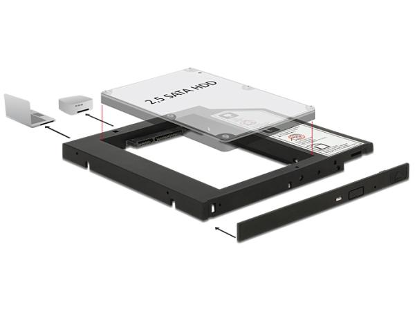 """Delock Slim SATA 5.25"""" instalační rámeček pro 1 x 2.5"""" SATA HDD do 9,5 mm - 62669"""