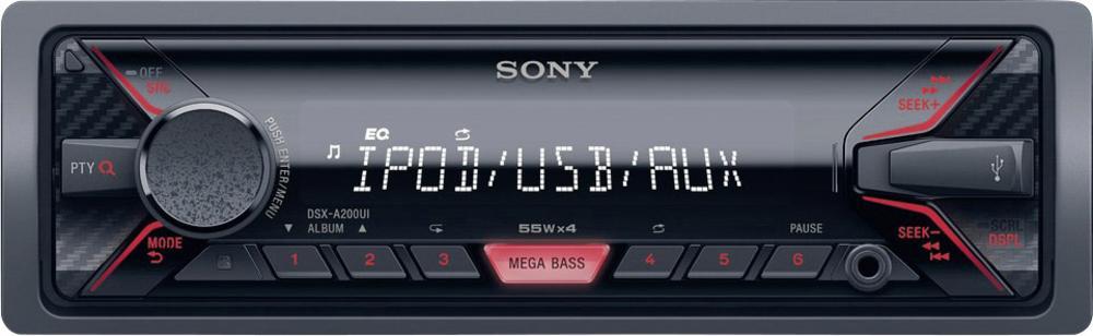 SONY DSX-A200 - Bezmechanikové autorádio, přehrává MP3/ WMA/AAC, výkon 4 x 55 W - RED - DSXA200UI.EUR