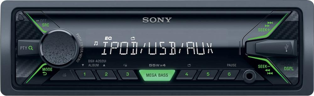 SONY DSX-A202 - Bezmechanikové autorádio, přehrává MP3/ WMA/AAC, výkon 4 x 55 W - GREEN - DSXA202UI.EUR