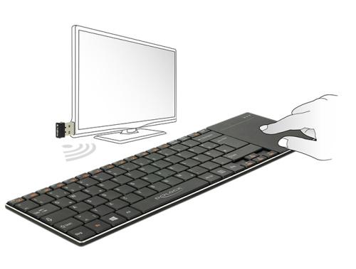 Delock Bezdrátová klávesnice pro Smart TV a Windows PC s Touch Padem 6 mm tenký - 12454