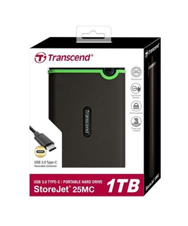 """TRANSCEND 1TB StoreJet 25MC, USB Typ-C, 2.5"""", Externí odolný hard disk, šedý - TS1TSJ25MC"""