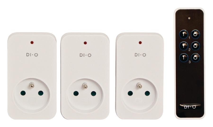 DI-O dálkově ovládaná zásuvka, kit 3ks + 1x DO - DIO-DOMO53F