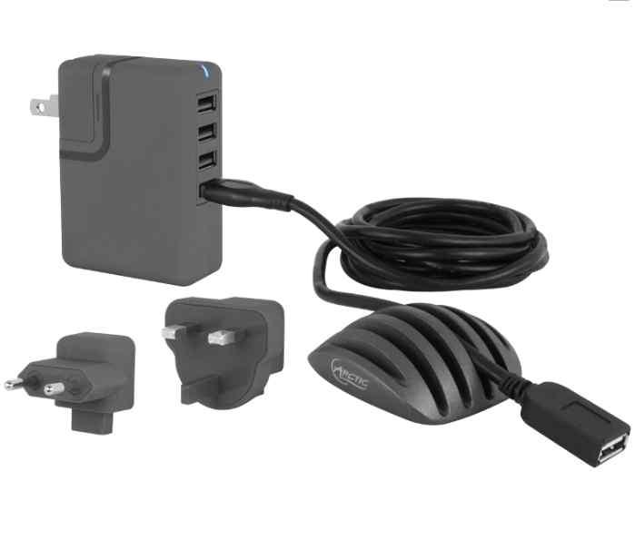 ARCTIC Nabíjecí stanice charger PRO 4 multi, kabelový organizér, USB prodlužovací kabel - ORACO-OR01101-BL